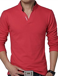 cheap -Men's Active Plus Size Cotton T-shirt - Solid Colored Stand
