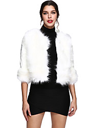 Women's Casual/Daily / Beach Simple Fur Coat,Solid Long Sleeve Winter Red / White / Black / Gray Faux Fur Thick