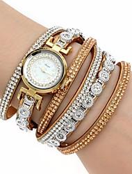 baratos -Mulheres Bracele Relógio / Relógio de Pulso Legal / imitação de diamante / Colorido PU Banda Amuleto / Luxo / Brilhante Preta / Branco / Azul