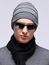 Men Casual Outdoor Solid Color Cotton Warm Fashion Pure Color Wool Knit Hedging Cap