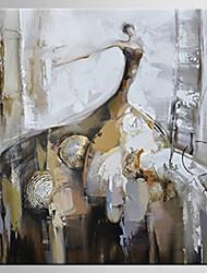 Pintados à mão Abstrato / Pessoas Pinturas a óleo,Moderno / Clássico 1 Painel Tela Pintura a Óleo For Decoração para casa