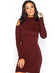 Women's Going out / Casual/Daily Simple / Street chic Knit Thick Sheath DressSolid Round Neck Above Knee Long Sleeve