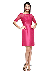 cheap -Sheath / Column Jewel Neck Knee Length Lace Satin Mother of the Bride Dress with Sash / Ribbon by LAN TING BRIDE®