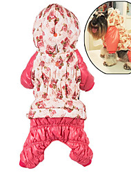cheap -Dog Hoodie Jumpsuit Dog Clothes Cute Casual/Daily Keep Warm Floral / Botanical Rose Pink Costume For Pets