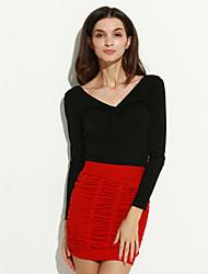 Women's Office Pleats Pure Mini Skirt