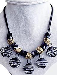abordables -Mujer Cuadrado Forma Geométrica Diseño Único Vintage Victoriano Collar Obsidiana Zirconio Legierung Collar , Boda Fiesta Diario