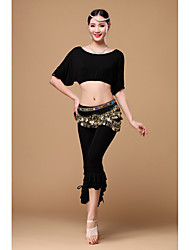 Belly Dance Outfits Women's Training Viscose Sequins 3 Pieces Short Sleeve Dropped Top Pants Hip Scarf