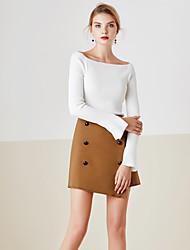 economico -Standard Pullover Da donna-Casual Semplice Tinta unita Blu Bianco A barca Manica lunga Cotone Primavera Medio spessore Media elasticità