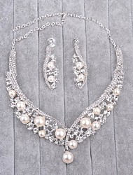 cheap -Women's Rhinestone Imitation Pearl Jewelry Set 1 Necklace 1 Pair of Earrings - Silver For Wedding