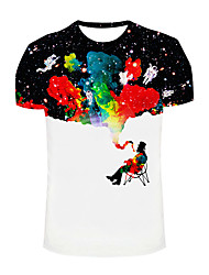 cheap -Men's Daily Sports Going out Beach Holiday Casual Active Boho Spring Summer T-shirt,Print Round Neck Short Sleeves Polyester Medium
