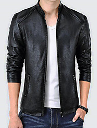 cheap -Men's Basic Plus Size Faux Leather Leather Jacket Stand