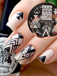 cheap -BORN PRETTY BP77 Nail Art Image Stamping Plates Geometry Negative Space Design