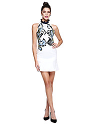 cheap -Sheath / Column High Neck Short / Mini Mikado Cocktail Party / Prom Dress with Embroidery by TS Couture®