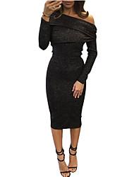 abordables -Femme Tee-shirt - Couleur Pleine Jupe Bateau