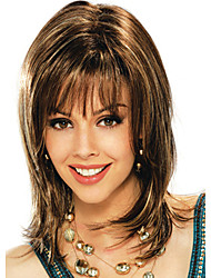 cheap -Synthetic Wig Natural Wave With Bangs Synthetic Hair Brown Wig Women's Capless
