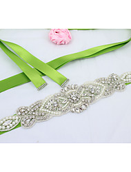 cheap -Satin Wedding / Party / Evening / Dailywear Sash With Rhinestone / Beading / Imitation Pearl Women's Sashes