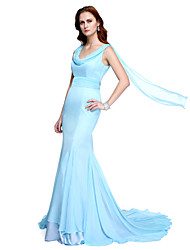 cheap -Mermaid / Trumpet Cowl Neck Sweep / Brush Train Chiffon Formal Evening Dress with Draping Side Draping by TS Couture®