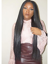 cheap -Human Hair Glueless Lace Front / Lace Front Wig Straight Wig Natural Hairline / African American Wig / 100% Hand Tied Women's Short / Medium Length / Long Human Hair Lace Wig