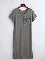 Tee Shirt Robe Aux femmes Décontracté / Quotidien simple,Couleur Pleine Capuche Mi-long Manches Courtes Gris Coton Eté