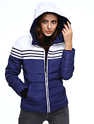 cheap -Women's Plus Size Going out Padded - Color Block Hooded