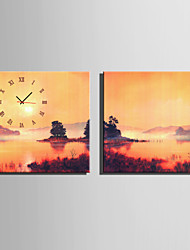 E-HOME® Dusk Lake Scenery Clock in Canvas 2pcs