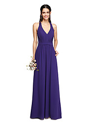 Sheath / Column V-neck Floor Length Chiffon Bridesmaid Dress with Draping Sash / Ribbon by LAN TING BRIDE®