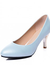 cheap -Women's Heels Spring Fall Leatherette Office & Career Casual Dress Stiletto Heel White Blue Blushing Pink
