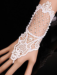Wrist Length Fingerless Glove Lace Bridal Gloves