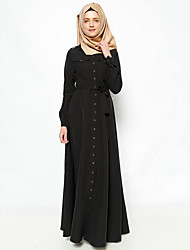 Women's Plus Size Vintage Chiffon Dress Sleeve Black / Gray / Green Polyester Fall Mid Rise Micro-elastic