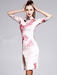 preiswerte -Latein-Tanz Kleider Damen Vorstellung Elastan 2 Stück Halbe Sleeve Hoch Kleid Unterhose