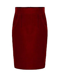 Women's Plus Size Bodycon Solid Split Skirts,Casual/Daily Street chic High Rise Knee-length Zipper Wool Micro-elastic Spring / Fall