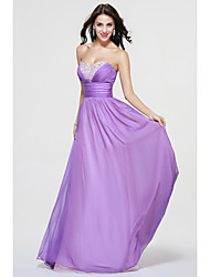 cheap -A-Line Sweetheart Floor Length Chiffon Bridesmaid Dress with Beading Side Draping by LAN TING BRIDE®