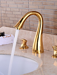 Недорогие -Смеситель для раковины в ванной комнате - предварительное полоскание / водопад / широко распространенный комплект из двух частей: три ручки, три отверстия, смесители для ванны