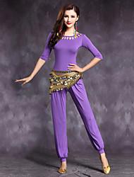 economico -Danza del ventre Completi Per donna Da esibizione Modal Drappeggi 2 pezzi Mezza Manica Naturale Top Pantaloni