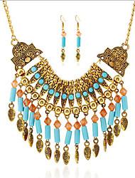 abordables -Mujer Turquesa Bohemio Estilo popular Fiesta Diario Casual Turquesa 1 Collar 1 Par de Pendientes