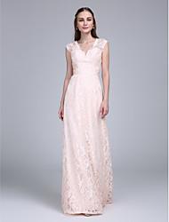 cheap -Sheath / Column V Neck Floor Length Lace Bridesmaid Dress with Sash / Ribbon by LAN TING BRIDE®