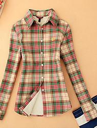 cheap -Women's Cotton Shirt - Plaid Shirt Collar / Spring / Fall