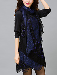 Women's Lace Plus Size / Irregular Slim chic Lace Dress Solid Round Neck Asymmetrical Long Sleeve Blue / Purple Polyester Fall High Rise