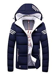 Herren Gefüttert Mantel,Standard Einfach Lässig/Alltäglich Solide-Polyester Polyester Langarm Hemdkragen