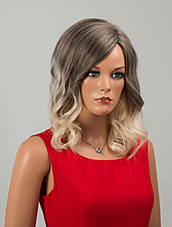 Sexy Beauty Mid-Length Capless Wigs Natural Wave Human Hair Ombre Wigs