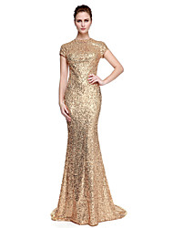 cheap -Sheath / Column Jewel Neck Sweep / Brush Train Sequined Sparkle & Shine / Celebrity Style Formal Evening Dress with Sequin by TS Couture®