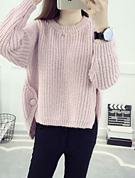 Women's Going out Casual/Daily Simple Regular Pullover,Solid Pink Beige Brown Gray Round Neck Long Sleeve Cotton Fall Medium Micro-elastic