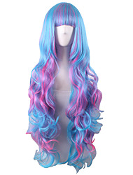 Long Body Wave Full Side Bang Synthetic Wig Mix Blue Pink Heat Resistant Cosplay Wigs