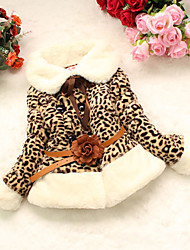 cheap -Girls' Daily Leopard Down & Cotton Padded, Others Winter Long Sleeves Animal Print Camel