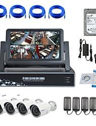 camera ip strongshine® com / infravermelho / à prova de água 720p e NVR 4 canais com 7 polegadas LCD / 1TB kits de vigilância HDD de