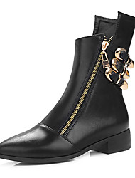 cheap -Women's Shoes Leatherette Winter Fashion Boots Boots Low Heel Pointed Toe Buckle Zipper for Casual Dress Black Dark Brown