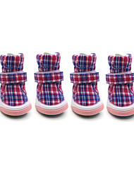 cheap -Dog Boots / Shoes Keep Warm Fashion Snow Boots Plaid/Check Red Blue Pink For Pets
