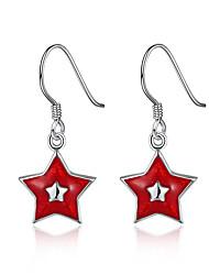 Brincos Curtos Brincos Compridos Brinco Brincos Set Chrismas Cobre Estrela Branco Vermelho Jóias Para Festa Diário Casual 1 par
