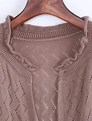 preiswerte -Damen Standard Strickjacke-Ausgehen Niedlich Solide Rot Beige Schwarz Braun Grün Asymmetrisch ¾-Arm Acryl Frühling Mittel Mikro-elastisch