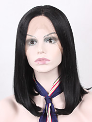 cheap -Middle Length Natural Black Color Synthetic Wigs Straight Hair With Adjustable Strap Lace Front Bob Wig